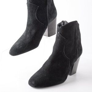 Zara Womens Black Leather Cowboy Ankle Boots 7.5
